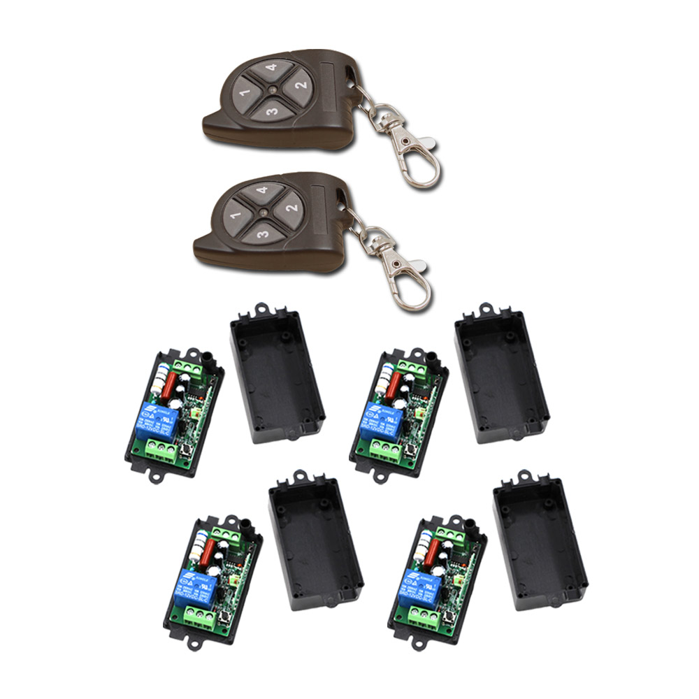 Best Price AC110V 220V 1CH RF Wireless Remote Control Switch System 2Transmitter+4Receiver for Intelligent Home 2 working ways rf wireless intelligent