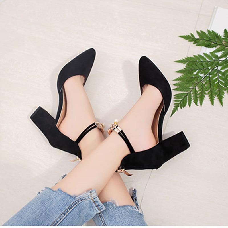 Peu De Talons 7 Chaussures Femme Profonde Black 40 5 D'été Cm Femmes 2018 Shuangxi Hauts Zapatos 34 gray Taille Mujer Jsd Haute Mode Bouche IPwB7qw48