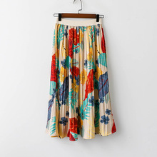 Floral Leaf Print Pleated Skirt Summer 2019 Korean Fashion High Waist A Line Colorful Pattern Casual Long Skirts Mujer Faldas
