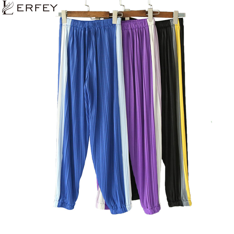 LERFEY Spring Summer Women Casual Pleated Trousers Retro White Stitching Closed Comfy Sweatpants Leisure   Pants     Capris