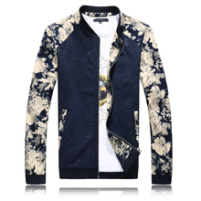 Spring Windbreaker Jacket Men Fashion 2018 Stand Collar Print Patchwork Bomber Jacket Slim Fit Long Sleeve Plus Size Mens Coats