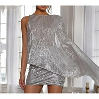 Fashion 2019 Solid Sequin Top And Mini Skirt Two Piece Set Girl Party Wear Club Outfits Sexy Backless Sparkle Matching Sets