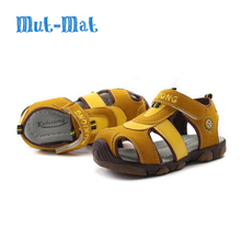 Children Sandals Boys Shoes Genuine Leather Cowhide Sandals Half Hole Single Shoes Casual Comfortable Summer Male