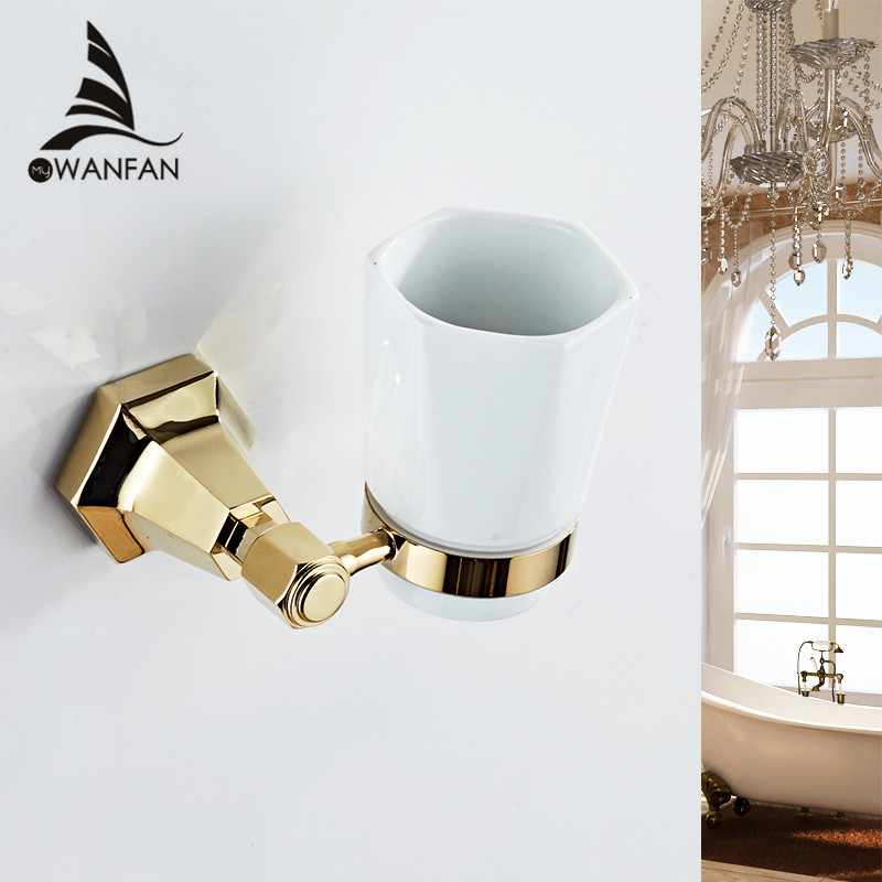 Cup & Tumbler Holders Gold Color Toothbrush Tumbler Holder Wall Mounted Toothbrush Holder with Cup Bathroom Accessories 93002 flg bathroom accessories wall mounted tumbler holder cup