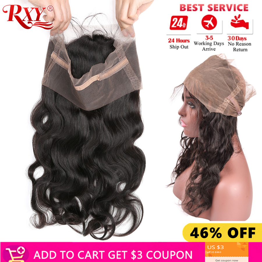 RXY 360 Lace Frontal Closure with Baby Hair Brazilian Body Wave Natural Black Remy Human Hair