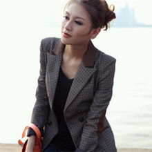 2016 New Fashion Women European Style Autumn Korean Version Of Plaid Double-Breasted Female Suit Slim Small Lady Tops D201