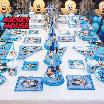Hot Disney Minnie Mickey Mouse heme plastic Tablecover Paper Cup Plate Family Party Baby Shower Kid Birthday Decoration Supply image
