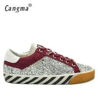 CANGMA Famoso Retrò Per Il Tempo Libero Scarpe Uomo Sneakers Glitter Argento Top Quality Sequin Maschio Scarpe Basse Modello Della Zebra Scarpe Big Size