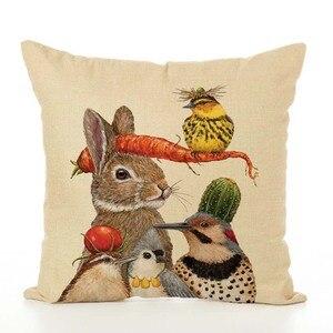 Image 5 - Housse de coussin nordique en lin imprimé animaux, taie doreiller, pour Thanksgiving, pour canapé, voiture, décoration de salon