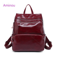 Aminou Brand Women Backpack 2017 Genuine Leather School Bags For Girl Mochila Feminina Laptop Bookbag Travel