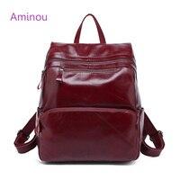 Aminou Brand Women Backpack 2017 Genuine Leather School Bags For Girl Mochila Feminina Laptop Bookbag Travel