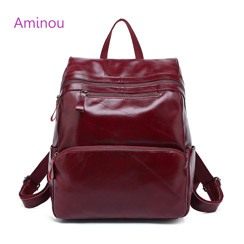 Aminou Brand Women Backpack 2017 Genuine Leather School Bags For Girl Mochila Feminina Laptop Bookbag Travel Backpacks sac a dos kibdream new laptop backpacks designer brand large capacity travel bags men women unisex computer bag bolsas mochila sac a dos