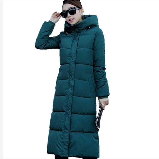 2016 de Inverno Mulheres De Algodão Fino Casaco Longo Com Capuz Parka Casaco Plus Size Para Baixo Parkas Jaquetas Casacos Brancos