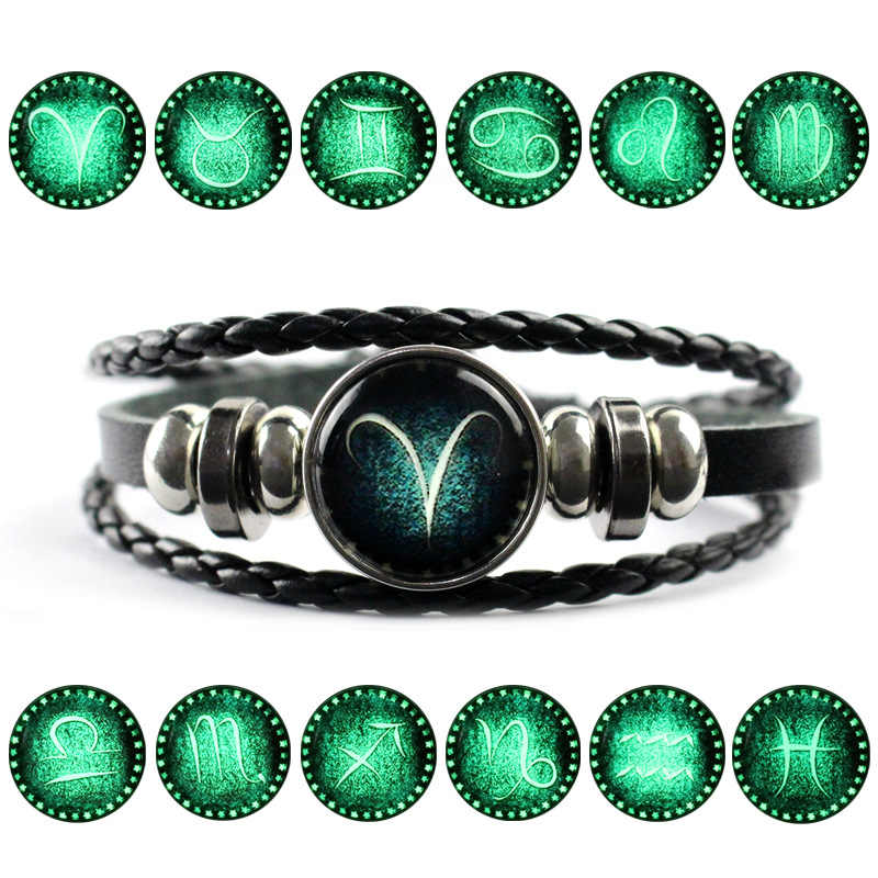 Glow in Dark Twelve Constellations Charm Bracelet for Men Women Snap Button Leather Bracelet Signs of the Zodiac Jewelry Male