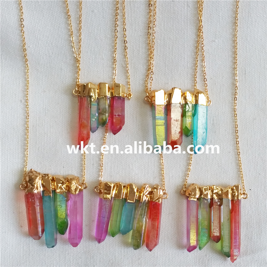 WT-N610 Latest design crystal pendants jewelry natural aura crystal quartz point in randomly shape colorful unique pendants gift
