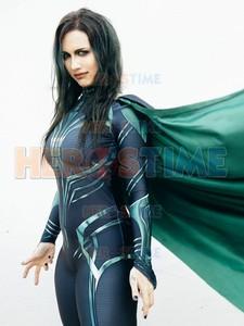 Image 2 - Thor Ragnarok Cosplay Hela, disfraz de superhéroe Zentai para fiesta de Halloween, Mono para adultos con capa, hecho a medida