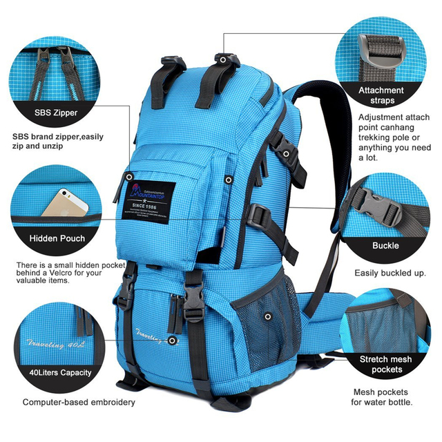 40L Unisex Waterproof Hiking Backpack