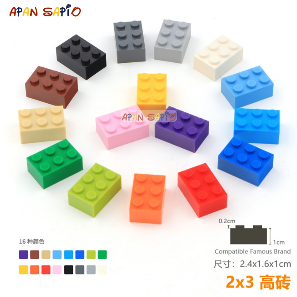 10pcs/lot DIY Blocks Building Bricks Thick 2X3 Educational Assemblage Construction Toys For Children Size Compatible With Lego