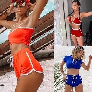 Женский спортивный костюм-бикини, комплект бикини с пуш-апом, купальный костюм из двух предметов, 2018