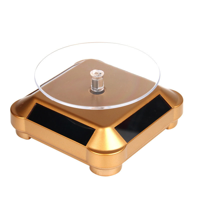 Solar Showcase 360 Automatic Rotating Turntable Jewelry Organizer Necklace Bracelet Watch Phone Display Stand KQS8