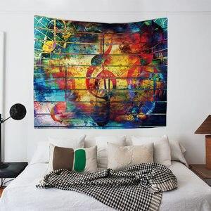 Image 3 - תווי נגינה אקוסטית גיטרה Hippie Boho בית חווה דקור פסיכדלי קיר תליית מודפס שטיח בית חוף מגבות