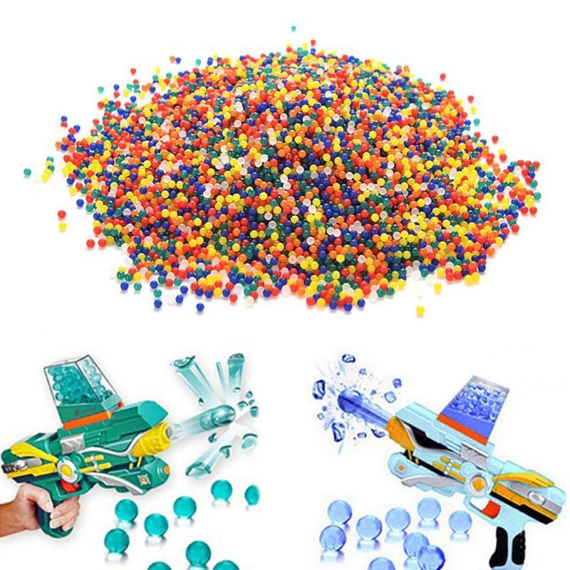 10000 pièces/paquet arc-en-ciel doux Transparent eau Paintball grandir perles d'eau balles jouet pistolet balle décoration de noël