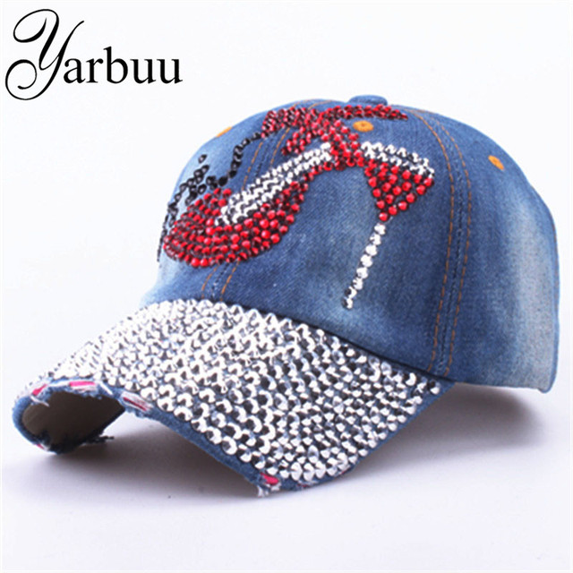 YARBUU  Baseball Caps 2017 new Fashion high quality Adjustable Baseball  cap Rhinestones Jean hat Denim Caps Snapback hats e97517577f27
