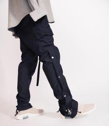 QoolXCWear 2019 Mannen Broek Side Snap Cargo Broek Hip Hop Slim Fit Ribboned Tailleband Track Broek Zwart/Koffie Broek