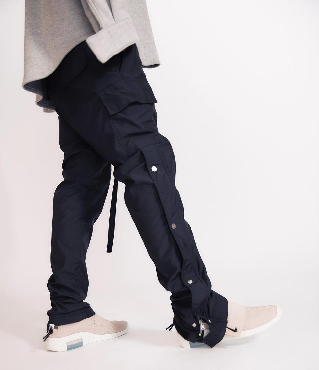 QoolXCWear 2019 Men Pants Side Snap Cargo Pants Hip Hop Slim Fit Ribboned Waistband Track Pants Black/Coffee Pants