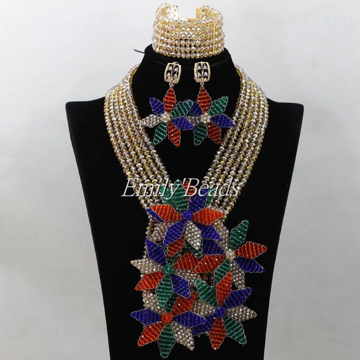 Crystal Beads Necklace With Big Flower Nigerian Wedding African Party Jewelry Set For Women 2016 Hot Free Shipping AIJ710Crystal Beads Necklace With Big Flower Nigerian Wedding African Party Jewelry Set For Women 2016 Hot Free Shipping AIJ710