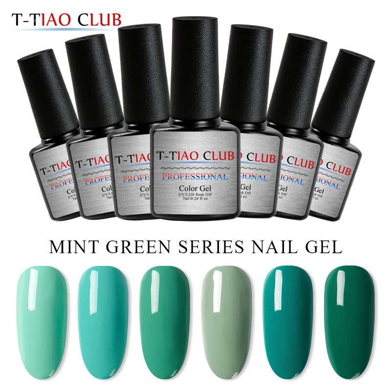 T-TIAO CLUB 7ml Mint Green Series Nail Gel Polish Primer Soak off Lacquer UV LED Fast Dry Semi Permanent For Art
