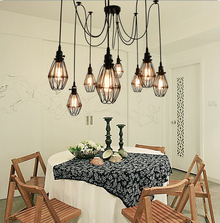 E27 Edison Bulb Light 5/6/8/10/12 Heads Small Birdcage Eletrical Wire Pendant Lights Vintage Pendant Lamps For Home Living Room