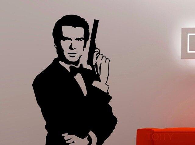 James Bond Bust Wall Art Stickers Retro 007 Decal Vinyl Cool Movie Poster  Dorm Teen Design Part 95