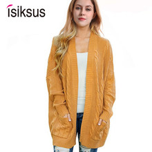 Isiksus 2018 Knitted Long Cardigan Sweater Women Autumn Winter 2018 Cotton Black Sweaters Female Casual Jumper Plus Size SW018(China)