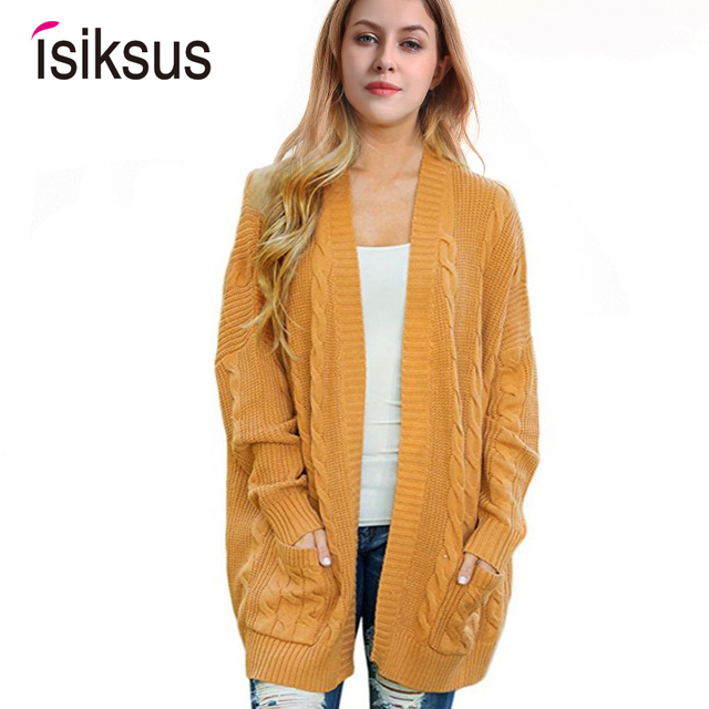 9c2985e3ae702 Isiksus 2018 Knitted Long Cardigan Sweater Women Autumn Winter 2018 Cotton  Black Sweaters Female Casual Jumper