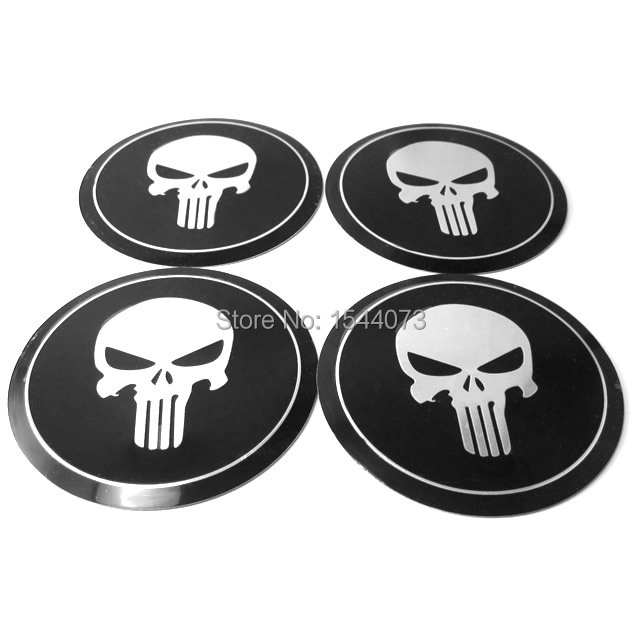 4pcs 90mm 9cm Car wheel center hub caps Aluminum Punisher Skull Logo Emblem Badge Sticker For VW