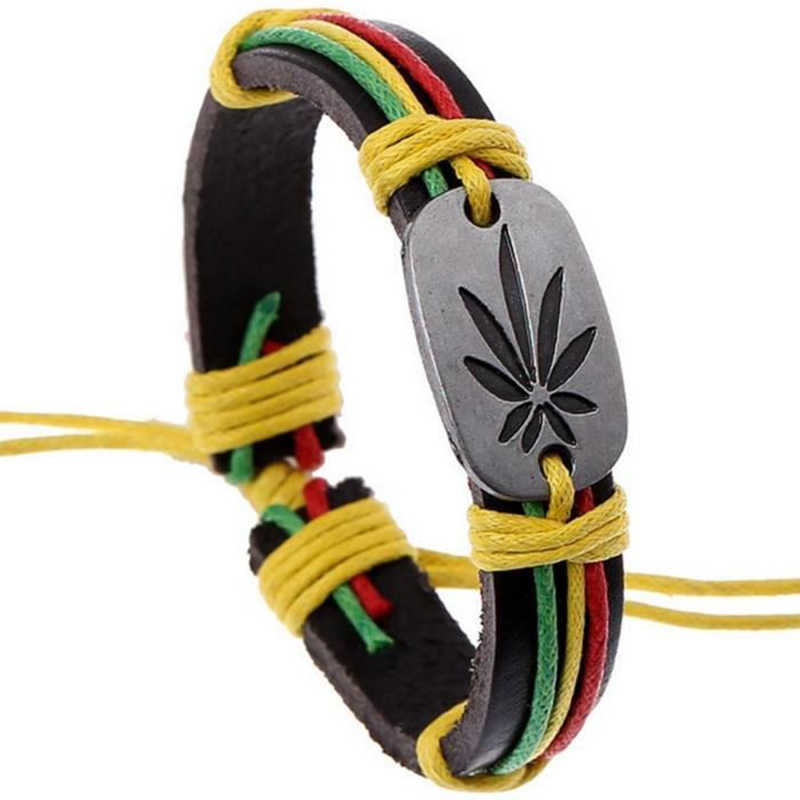 Rasta Jamaica Reggae Leather Bracelets Bangles For Women Man Cuero Pulseiras Bijoux