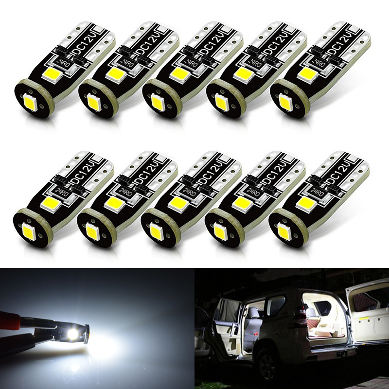 T10 168 194 2825 6000K White 3030 Chipset LED Bulbs for Car Interior Dome Map Door Courtesy License Plate Lights Compact Wedge