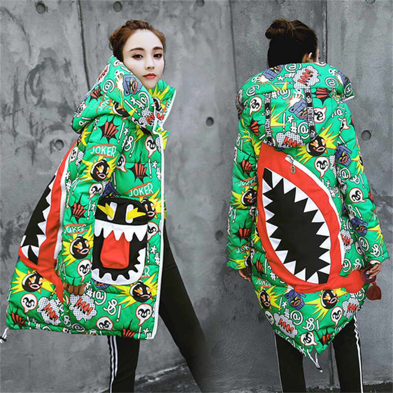 Parkas   mujer New winter jacket women Printed Loose Thicken Warm Coat Hooded Cloak Padded Snow Down   Parka   Big pocket plus size