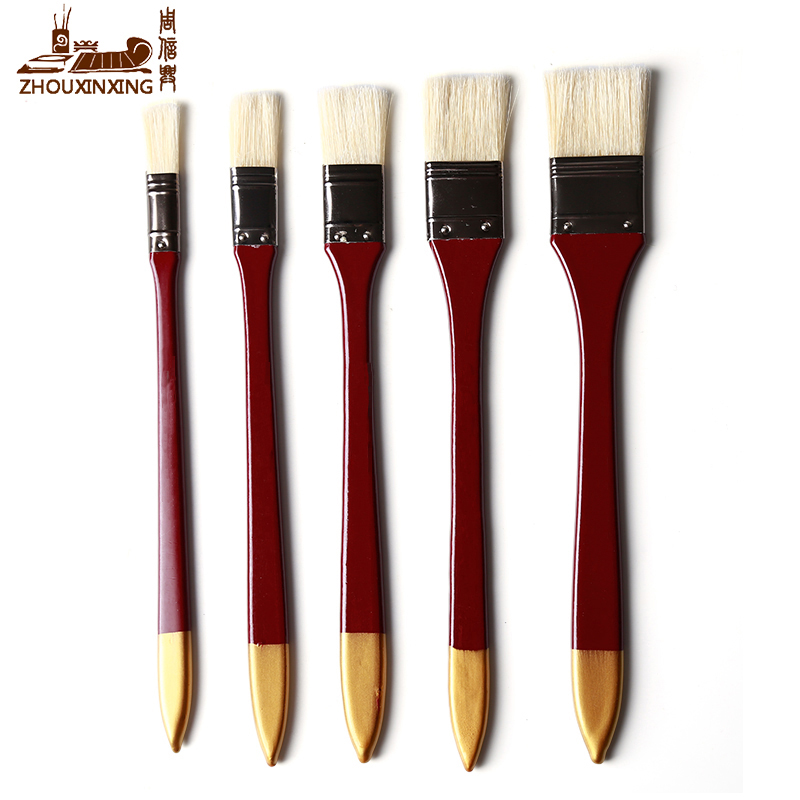 ZHOUXINXING 5Pcs//Set,fan-Shaped Nylon Hair short Wood Rod brush painting Drawing Supplies