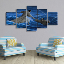 Canvas Pictures 5 Pieces Jesus Saves Everyone Print Wall Art