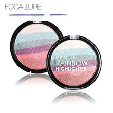 Brand FOCALLURE Rainbow Highlighter Makeup Palette Cosmetic Blusher Shimmer Powder Contour Eye Shadow Face Changing Highlight