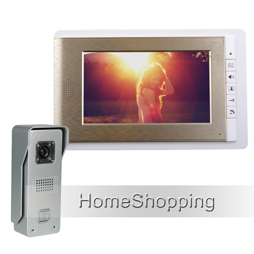 FREE SHIPPING Wired 7 TFT Color Video Door phone Intercom System With 1 Waterproof Doorbell Camera + 1 GOLDEN monitor IN STOCK wired 7 video door phone intercom doorbell entry system 2 monitors villa house waterproof camera in stock free shipping