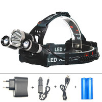 ZPAA Rechargeable T6 Led Headlamp With Wall USB Car Charger 18650 Batteries