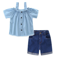 Mommy and Me Dresses Mum Mom and Daughter Dress Family Matching Outfits 2pcs Suit Two Pieces Set T Shirts +denim Jeans Shorts
