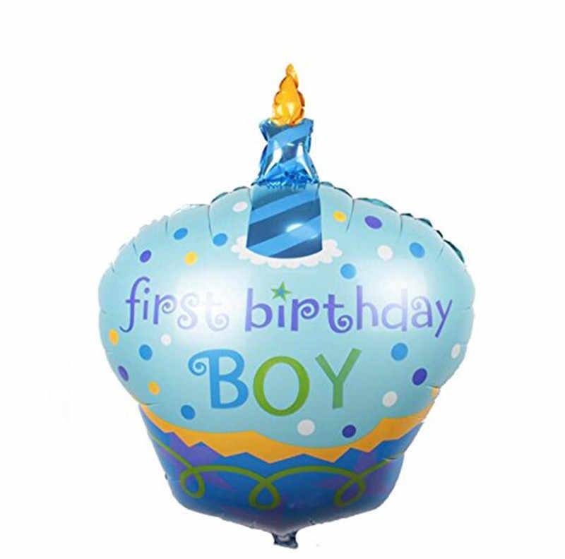 1ピースハッピーbirhdayケーキバルーン箔ヘリウム風船用ベビーシャワー女の子男の子第一誕生日パーティーの装飾インフレータブル空気ボール