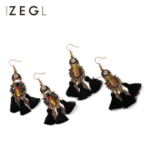 Купить с кэшбэком ZEGL vintage ethnic tassel baroque earrings female Korean pendant temperament earrings long bee earrings