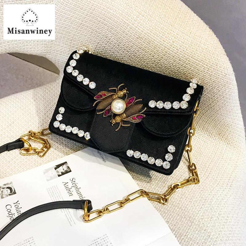 b0460b726e Brand Women Bag Handbag Diamond Embroidery Velvet Shoulder Bag Luxury  Designer Chain Crossbody Bags Lady Clutch Hot Louis gg Bag