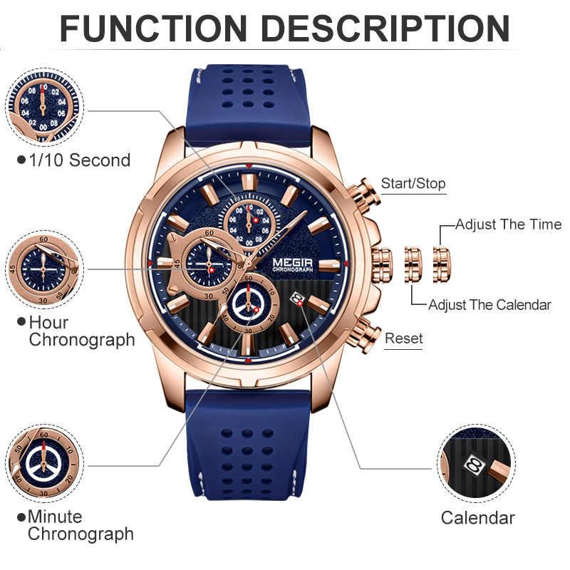 MEGIR למעלה מותג גברים של אנלוגי קוורץ ספורט שעונים גברים יוקרה עסקים שעונים אופנה סיליקון עמיד למים שעון יד זכר שעון