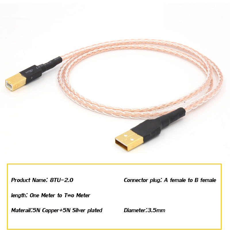 Hifi High Quality 5N OCC high purity copper plated silver cable Hifi USB Cable Type A to Type B Hifi Data Cable For DAC